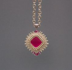 Bead embroidery, Pendant,   Seed bead  necklace,  Trending style,  Lunasoft,  Silver,  Fuchsia by Vicus on Etsy https://www.etsy.com/listing/196020919/bead-embroidery-pendant-seed-bead