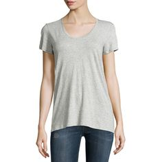 Vince Scoop-Neck Jersey Tee ($37) ❤ liked on Polyvore featuring tops, t-shirts, short sleeve scoop neck tee, relaxed tee, sweater pullover, scoopneck tee and vince t shirts