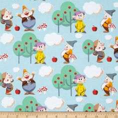 Disney 7 Dwarfs Scenic Blue from @fabricdotcom  Designed by Disney and licensed to Springs Creative Products, this cotton print fabric is perfect for quilting, apparel and home decor accents. Colors include shades of blue, red, brown, yellow, orange, purple, grey, cream, black, and white. Due to licensing restrictions, this item can only be shipped to USA, Puerto Rico, and Canada.