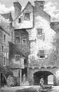 Engraving from 'Old & New Edinburgh' - Huntly House as seen from Bakehouse Close