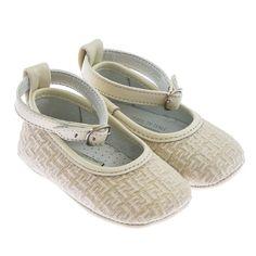 9a42600eaca0 Fendi Baby Girls Cream Jacquard Pre Walker Shoes