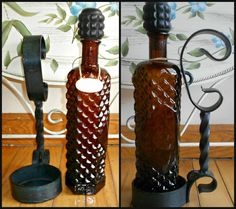 1960s Liquor Decanters Amber Glass Gold Tags by recyclingMadness, $65.00