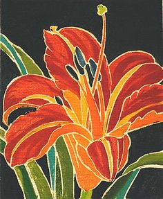 William S Rice woodcut Lily Painting, Fabric Painting, Watercolor Flowers, Watercolor Paintings, Silk Art, Day Lilies, Print Artist, Art Auction, Web Design