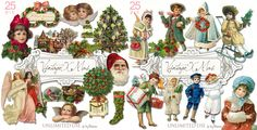 Vintage Christmas illustrations.