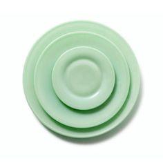 Hand-Pressed Jadeite Glass Plates