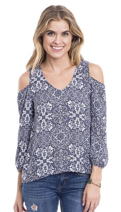 Indigo Blues Printed Cut Out Shoulder Top