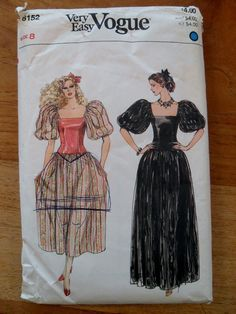1980's Evening Dress Pattern  Full Sleeves and by LagunaLane