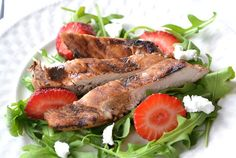 High Protein, Low Cal Recipe -- Chicken Strawberry Goat Cheese Salad, 215 calories/24g protein