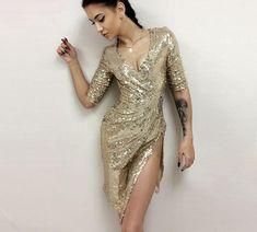 Autumn Winter Dress Shining Gold Sequin Dresses Elegant Evening Sexy Split Bustier Dress V Neck