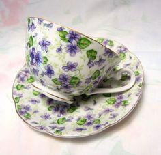 Lefton 'Violet Chintz' Teacup and Saucer set by Magyar Beader