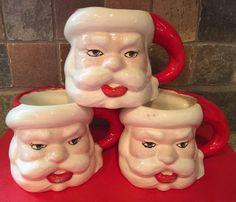 Vtg Christmas SANTA Claus Face 3 Mugs Mallory 1951 ? Ceramic Head Cups