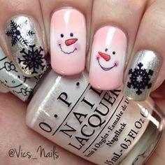 Pink Snowman Nails