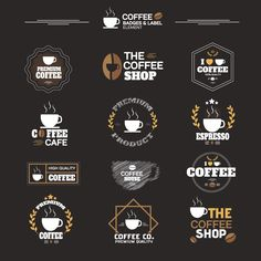 Set of Coffee Product , Guaranteed Labels and Badges Vector Design illustration Coffee Shop Branding, Coffee Shop Business, Coffee Shop Logo, Coffee Shop Design, Coffee Brothers, Cafe Logos, Shop Name Ideas, Coffee Shop Names, Espresso Cafe