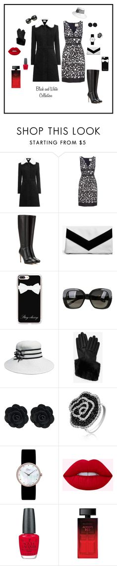 """Black and white collection"" by michelechambers ❤ liked on Polyvore featuring Carven, Carolina Herrera, Jimmy Choo, Boohoo, Casetify, Bottega Veneta, Ted Baker, Bling Jewelry, Christian Dior and OPI"