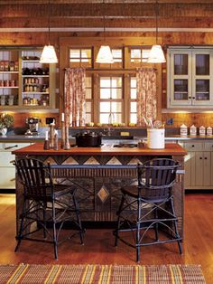 When it comes time to decorate a log home, balance is key. There's no need to do the entire house in a hunting-lodge theme, but an exess of modern materials will look out of place in such a rustic home. Do give a nod to the house's provenance and innate characteristics by using plenty of natural materials, comfortable furnishings, and warm, inviting colors.    - CountryLiving.com