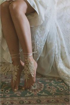 Boho wedding ideas - Go Barefoot.  Planning a dreamy forest wedding? Go barefoot save for stunning floral lace wrapped around your ankles; you'll be living out your own fairytale.