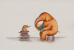 Elephant Daddy Reading to Baby art print from an by TinyRed