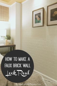 For bedroom? A brick accent wall adds so much character and texture to a boring room. We made a DIY faux brick wall and with our tips you can make it look more real! This post covers how to install brick veneer panels to make a fake brick wall. Brick Veneer Panels, Faux Brick Wall Panels, Brick Wall Paneling, Painted Brick Walls, Brick Accent Walls, Fake Brick Walls, Paneling Ideas, Basement Walls, Brick Wallpaper Basement