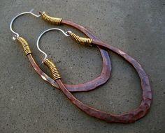 Mixed metal oblong loop earrings  silviascreations, etsy