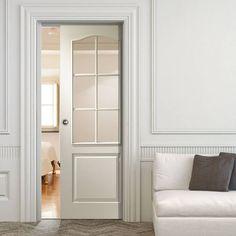 Single Pocket Classique 6 Light White sliding door system in three size widths with Clear Glass. #whiteglazeddoor #internalwhitedoor #whitepocketdoorwithglass