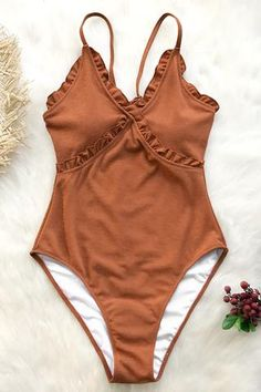 9807247058940 Elevate your one-piece collection with the Sweet Caramel Ruffles One-Piece  Swimsuit.