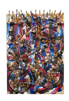 Arman Untitled, 1997 Sliced bicycle with acrylic paint and paintbrushes on canvas Overall: 89 x 60 x 13 inches x x cm Canvas: 84 x 60 x 2 inches Art Quiz, Bicycle Art, Art Walk, First Art, Sculpture, Various Artists, Paint Brushes, New Art, Contemporary Art