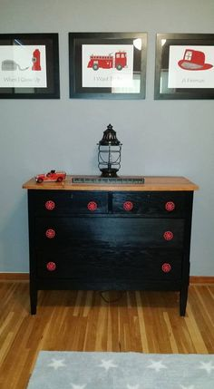 fire truck dresser with vintage water faucet handles