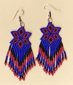 native american beaded earrings | These Beaded Dangle Earrings feature the 'Lakota Star' design ...