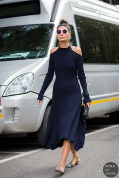 cashmere cut out dress with chic shoes