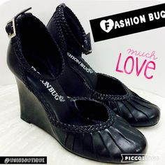 "❗️Cute Black ankle strap wedges❗️ 2.5"" inch heels, excellent condition,a tiny paint chip on the left shoe., but otherwise awesome and comfortable too. Fashion Bug Shoes Wedges"
