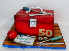 I made this for a gents birthday that lectures in Motor Mechanics at the local College. I think most of the cake and tools were originally white and I airbrushed the colour on everything individually. Cakes For Men, Cakes And More, Paul Cakes, Mechanic Cake, Tool Box Cake, Single Tier Cake, Gravity Defying Cake, Birthday Cake Pops, Retirement Cakes