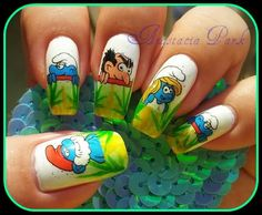 smurf nail art tutorial video gallery by nded on pinterest the smurfs nail art and nails. Black Bedroom Furniture Sets. Home Design Ideas