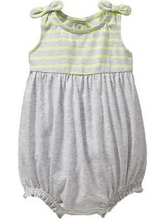 Striped-Top Bubble Rompers for Baby | Old Navy