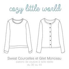 cozylittleworld — Patron PDF - Gilet Monceau / Sweat Courcelles (36-44)