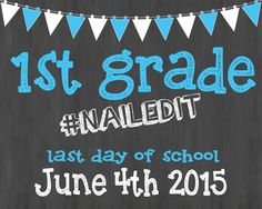 Last Day of School Chalkboard Printable Poster by FlyOnTheWallink
