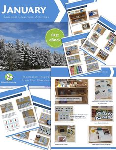 Free ebook with photos of Montessori inspired classroom activities for January