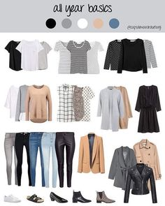 The Stay-at-Home Moms' Winter Outfit Guide (eBook) 21 Year Round Minimalist Capsule Wardrobe Ideas Capsule Wardrobe Mom, Capsule Outfits, Fashion Capsule, Wardrobe Basics, Mode Outfits, Wardrobe Ideas, Work Wardrobe Essentials, Staple Wardrobe Pieces, Closet Basics