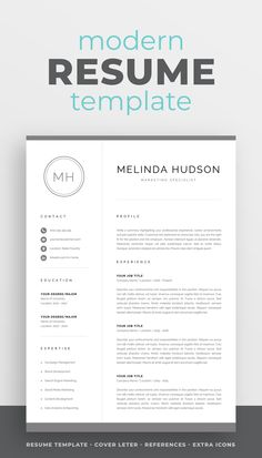 The modern resume template Melinda is designed to showcase your skills and experience in a professional and effective way. The layout is optimized for building a resume that is informative, visually attractive and easy to navigate. Includes resume, cover letter and references templates, extra social media and contact icons, and a detailed user guide. #resume #resumetemplate #resumedesign #cv #cvtemplate #cvdesign #job #jobsearch #career #careeradvice One Page Resume Template, Modern Resume Template, Creative Resume Templates, Cv Design, Resume Design, Cover Letter For Resume, Cover Letter Template, Cv Words, Resume References