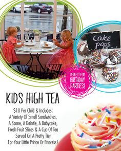 Kids High Tea at Tracycakes WestBeach! $10 Per Child includes a variety of Small Sandwiches, a scone, a daintie, a babycake, fresh fruit slices & a cup of Tea! Served on a pretty Tier for your Little Prince or Princess! Fruit Slice, Bakery Cafe, Tea Parties, High Tea, Fresh Fruit, Scones, Cake Pops, Tea Cups, Sandwiches