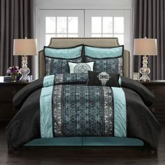 Nanshing America Stratford Park Arabesque 8 Piece Bedding Set California King -- You can get additional details at the image link. (This is an affiliate link) King Size Comforter Sets, King Size Comforters, Bedroom Comforters, Bedspreads, Bed Sets, Euro Pillow Shams, Pillow Cases, Space Furniture, Bedroom Furniture