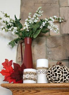 No-Sew Fall Runner and Candle Decor: Martha Stewart Decoupage - girlinthegarage.net