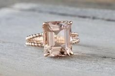 This beautiful elongated beautiful emerald Morganite ring is a girls dream ring. The Morganite is set on an elegant solid rose gold split shank rope design. Emerald Ring Vintage, Wedding Rings Vintage, Vintage Engagement Rings, Wedding Bands, Split Shank, Rose Gold Engagement Ring, Solitaire Engagement, Dream Ring, Bling Jewelry
