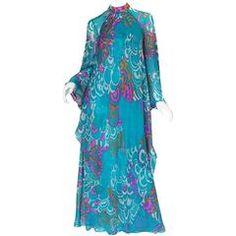 1970s Hanae Mori Flowing Turquoise Silk Chiffon Caftan Dress
