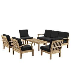 8 Piece Outdoor Patio Teak Sofa Set