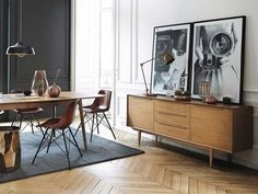 inspiring vintage rooms // dining room with mid century modern buffet and herringbone floors #MidCenturyModern