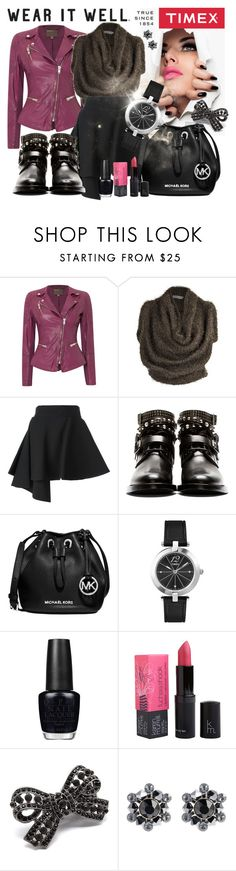 """""""Timex Contest Entry: How will you #WearItWell this holiday season?"""" by galina-nadj ❤ liked on Polyvore featuring Timex, MuuBaa, Yiqing Yin, FAUSTO PUGLISI, Yves Saint Laurent, Michael Kors, OPI, Karen Murrell, Pink Mascara and Konplott"""