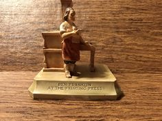 Sebastian Miniatuer-Ben Franklin at the Printing Press-Colonial Life and Times-Famous People- Occupations-1962 by GoldenGateBoutique on Etsy