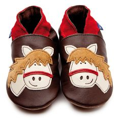 Chocolate Baby Girls Shoes with Horse Motif by Inch Blue £15