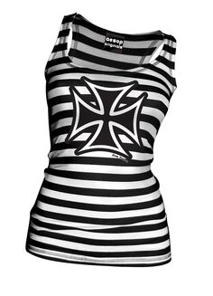 Thee Iron Cross Black and White Striped Tank Top - Tank Top Aesop Originals Clothing (Black - White) - Aesop Originals