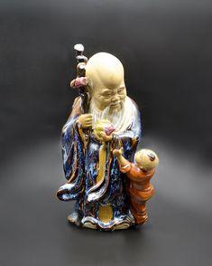 Shou Lao Figurine, God Of Longevity Statue, Asian Decor Yellow Bowls, Wood Owls, Star Show, Asian Decor, Vintage Wood, Gourds, Art Deco Fashion, High Gloss, Laos